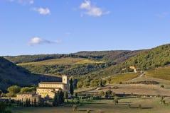 Abbey av Sant'Antimo, Tuscany Royaltyfri Bild