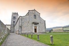 Abbey of Camaiore. Romanesque Abbey of Camaiore, near Viareggio, Tuscany, Italy stock images