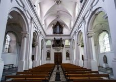Abbey cathedral interior. Majestic church in Floreffe, Belgium Royalty Free Stock Photos