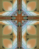 Abbey ceiling cross. Kaleidoscope cross from photo of ceiling of Mt. Angel Abbey, oregon Stock Photos