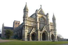 Abbey church and cathedral, St Albans. The abbey church and cathedral in St Albans on an autumnal afternoon royalty free stock photography