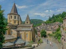 Abbey Church del santo Foy en Conques Foto de archivo libre de regalías