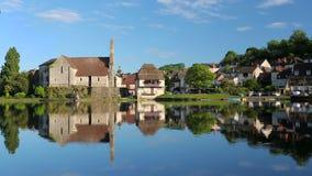 Abbey Church on Dordogne River at Beaulieu sur Dordogne, Correze, Limousin stock video footage
