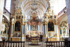 Abbey church of Ebersmunster. Magnificent baroque church in Alsace Stock Image