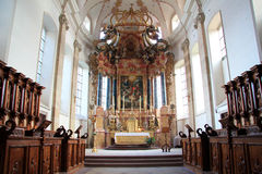 Abbey church of Ebersmunster. Magnificent baroque church in Alsace Royalty Free Stock Photos
