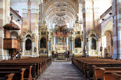 Abbey church of Ebersmunster. Magnificent baroque church in Alsace Royalty Free Stock Images