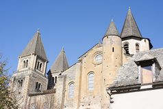 Abbey Church of Saint Foy. Conques, in France stock photography