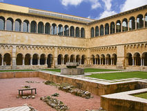 Abbey cloister and garden Royalty Free Stock Photography