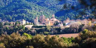 abbey de玛丽亚poblet皇家圣诞老人 卡塔龙尼亚,西班牙 免版税库存照片