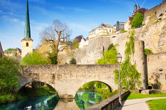 Abbey de Neumunster, Alzette river in Luxembourg Stock Photo