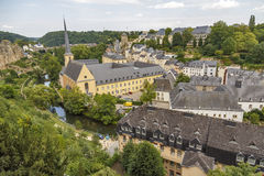 Abbey de Neumunster in Luxembourg City. Summer panorama of Abbey de Neumunster in Luxembourg City Stock Photography