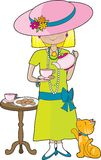 Abbey Dress Up. Little girl dressed in her mother's clothes and pouring a cup of tea into a cup. A marmalade cat is looking up at her waiting for a treat stock illustration