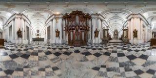 Abbey Floreffe in België 360 graad panoramische binnenlandse mening Royalty-vrije Stock Afbeeldingen