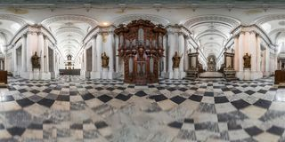 Abbey Floreffe in Belgium 360-degree panoramic interior view. Old and majestic Royalty Free Stock Images