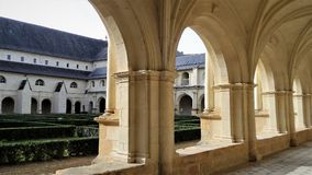 Abbey of Fontevraud. The cloister galleries. Abbey of Fontevraud. One of the most famous medieval monasteries of France Royalty Free Stock Photos