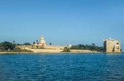 Abbey and fortress on the Ile Saint Honorat Stock Image