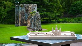 Abbey gardens, Bury St Edmunds, Suffolk, UK. Model of original Abbey gardens with ruins in background Royalty Free Stock Image