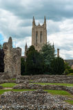 Abbey gardens, Bury St Edmunds, Suffolk, UK. Ruins in Abbey garden and Church in the background, Bury St Edmunds, Suffolk, UK Royalty Free Stock Photography