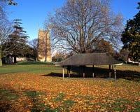 Abbey and gardens, Evesham, England. Evesham Abbey and Abbey gardens with autumn leaves in foreground, Evesham, Worcestershire, England, UK, Western Europe Stock Image