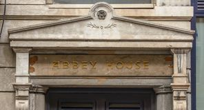Abbey House Pediment. Architecture Detail, Shallow Depth of Field, Captured in Bristol England Autumn 2017 Royalty Free Stock Photo