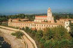 Abbey on the Ile Saint Honorat Stock Image