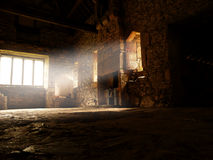 Abbey interior ray of light D. Interior of a medieval abbey with ray of light shining in Stock Photography