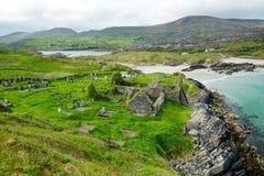 Abbey Island, berühmt für die Ruinen von Abtei und von cementery Derrynane, gelegen in der Grafschaft Kerry, Irland Stockbild