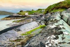 Abbey Island, berühmt für die Ruinen von Abtei und von cementery Derrynane, gelegen in der Grafschaft Kerry, Irland Stockbilder