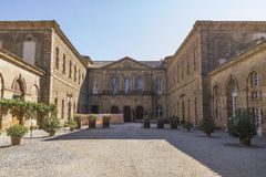 Abbey of Lagrasse. The Abbey of St. Mary of Lagrasse is a Romanesque Benedictine abbey in Lagrasse, southern France, whose origins date to the 7th century royalty free stock images