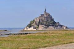 Abbey Mont-Saint-Michel i Frankrike Arkivbilder