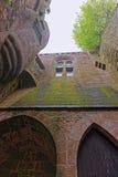 Abbey Mont Saint Michel i Normandie av Manche Frankrike Arkivbilder