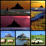 Abbey Mont-Saint-Michel mosaic. Six mosaic photos of famous Abbey Mont-Saint-Michel in France on the Channel coastline Royalty Free Stock Photography