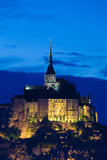 Abbey of Mont St. Michel at night. This Gothic abbey its one of the most visited monuments in France Royalty Free Stock Photos