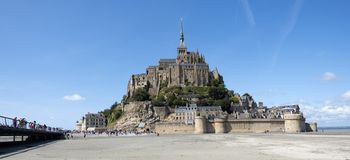 Abbey of Mont St. Michel. View of famous Le Mont Saint-Michel, Brittany Normandy France stock photo