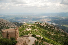Abbey on the Montserrat mountain Stock Image