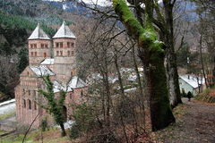 Abbey of Murbach, Alsace. Old Alsatian abbey in France Stock Photo