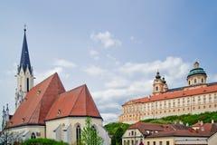 Abbey och kyrka av Melk Fotografering för Bildbyråer