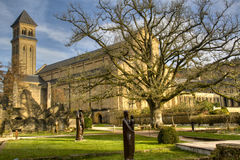 The abbey of Orval in Belgium. The abbey in Orval, Belgium is famous for its trappist beer, botanical garden and ruins of the former monastery Royalty Free Stock Image