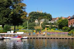 Abbey Park and River Avon, Evesham. Stock Images