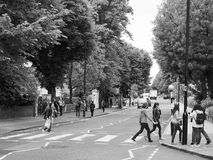 Abbey Road crossing in London black and white Stock Photos