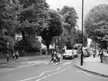 Abbey Road crossing in London black and white Royalty Free Stock Image