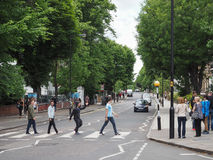 Abbey Road crossing in London. LONDON, UK - CIRCA JUNE 2017: Abbey Road zebra crossing made famous by the 1969 Beatles album cover royalty free stock images