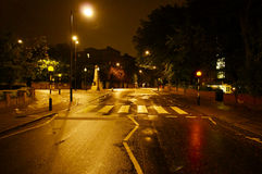 Abbey Road Crossing, Londra alla notte Fotografie Stock