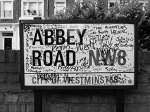 Abbey Road sign in London black and white. LONDON, UK - CIRCA JUNE 2017: Abbey Road street sign made famous by the 1969 Beatles album cover in black and white stock images