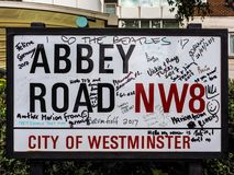 Abbey Road sign in London, hdr. LONDON, UK - CIRCA JUNE 2017: Abbey Road street sign made famous by the 1969 Beatles album cover, high dynamic range stock images