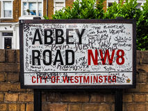 Abbey Road sign in London (hdr). LONDON, UK - CIRCA JUNE 2017: Abbey Road street sign made famous by the 1969 Beatles album cover (high dynamic range stock photography
