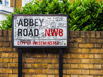 Abbey Road sign in London (hdr). LONDON, UK - CIRCA JUNE 2017: Abbey Road street sign made famous by the 1969 Beatles album cover (high dynamic range stock image