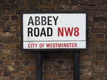 Abbey Road sign in London Stock Photography