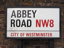 Abbey Road sign in London Royalty Free Stock Image