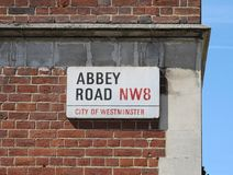 Abbey Road Street Sign en la ciudad de Westminster Foto de archivo libre de regalías